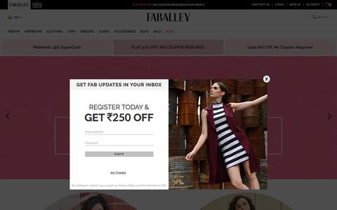 Screenshot of Home Page faballey.com - Online Fashion Store - Online Shopping Site for Women in India - FabAlley - captured July 13, 2018