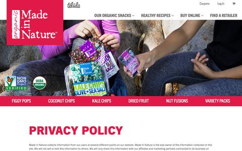 Screenshot of Privacy Page madeinnature.com - Privacy Policy | Made in Nature - captured July 27, 2018