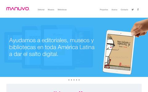Screenshot of Home Page manuvo.com - Manuvo - Tecnología para industrias culturales - captured Sept. 30, 2014