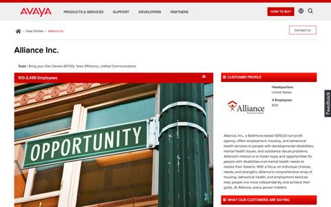 Screenshot of Case Studies Page avaya.com - Alliance Inc. - Next Gen Unified Communications - Avaya Case Study - captured May 3, 2018
