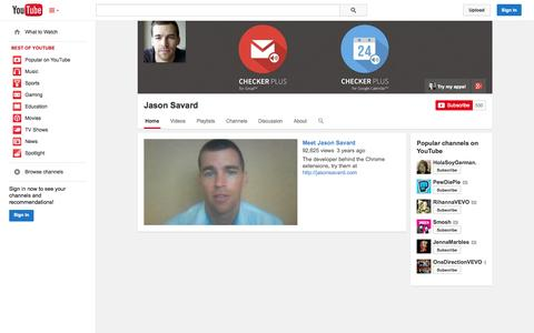 Screenshot of YouTube Page youtube.com - Jason Savard  - YouTube - captured Oct. 23, 2014