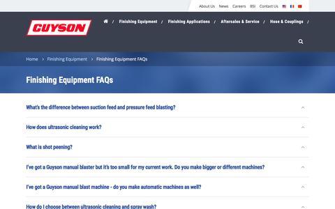 Screenshot of FAQ Page guyson.co.uk - FAQs on Guyson's Industrial Finishing Equipment - captured Sept. 20, 2017