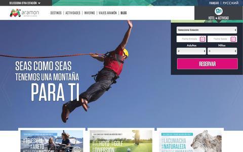 Screenshot of Home Page aramon.com - ARAMÓN Verano | Estaciones de Esquí en Aragón - captured May 28, 2017
