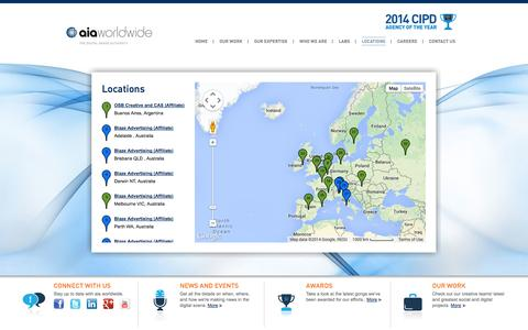 Screenshot of Locations Page aia.co.uk - Locations - aia worldwide - captured Oct. 4, 2014