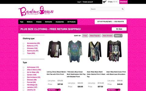 Screenshot of Products Page bodaciousboutique.com - Bodacious Boutique Plus Size Women Clothing - captured Sept. 30, 2014
