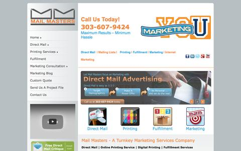 Screenshot of Home Page mailmasters.net - Mail Masters - Direct Mail | Mailing Lists | Printing | Fulfillment | Marketing | Internet Marketing - captured Nov. 18, 2016