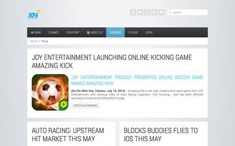 Screenshot of Press Page joy-entertainment.com - Press - JOY Entertainment - captured Sept. 30, 2014