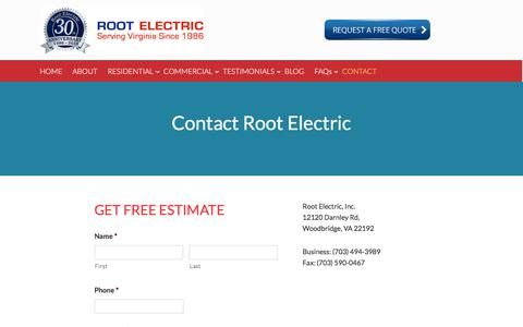 Screenshot of Contact Page rootelectric.com - Contact Root Electric - Electrician - captured Nov. 13, 2017