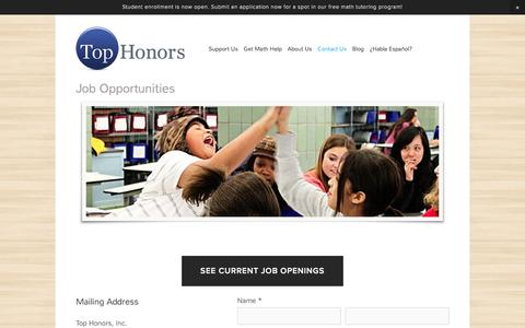 Screenshot of Jobs Page tophonors.org - Job Opportunities — Top Honors - captured Feb. 27, 2016
