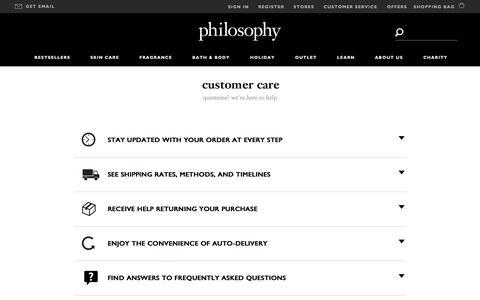 Screenshot of Support Page philosophy.com - contact us | customer care | philosophy u.s. - captured Nov. 18, 2015