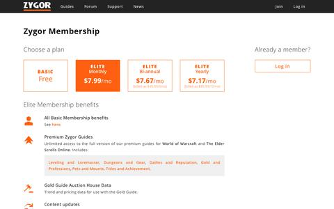 Screenshot of Signup Page zygorguides.com - Zygor Guides - captured Sept. 20, 2018