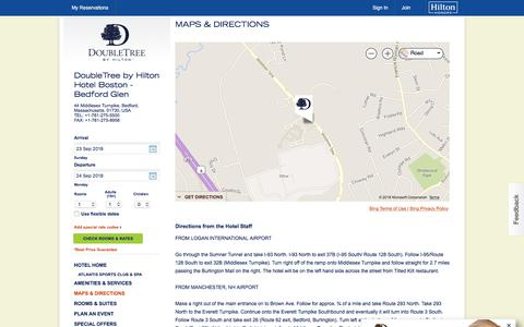 Screenshot of Maps & Directions Page hilton.com - Directions to Doubletree Boston Hotel in Bedford, MA - captured Sept. 24, 2018