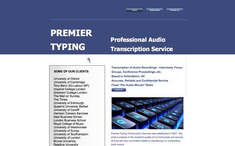 Screenshot of Home Page premiertyping.com - Specialist Transcription Service - Fixed Rates, Accurate Transcripts - captured Oct. 6, 2014