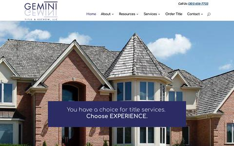 Screenshot of Home Page geminititle.com - Home - MD, VA, and DC Title Company | Gemini Title & Escrow, LLC - captured Sept. 27, 2018