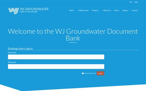 Screenshot of Login Page wjgl.com - Login | WJ Groundwater - captured Feb. 16, 2016