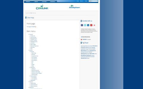Screenshot of Site Map Page comlink.net - Site map   COMLINK - captured Sept. 26, 2014