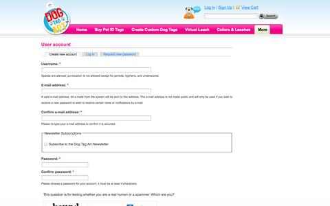 Screenshot of Signup Page dogtagart.com - User account   Dog Tag Art - captured Sept. 19, 2014