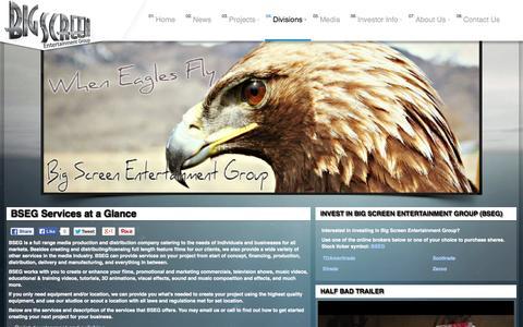 Screenshot of Services Page bigscreenentgroup.com - BSEG Services at a Glance - Big Screen Entertainment Group (OTC: BSEG) - captured Nov. 3, 2014