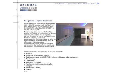 Screenshot of Services Page catorze.fr - // Les services proposés par Catorze  Design & Build// - captured Oct. 1, 2014