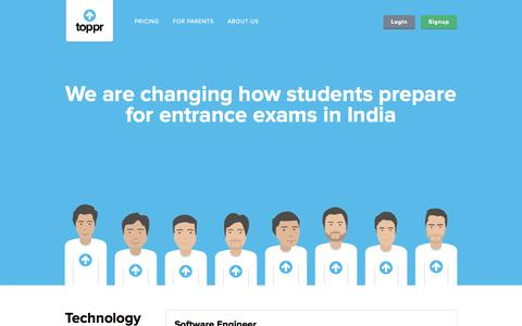 Screenshot of Jobs Page toppr.com - Jobs at Toppr.com - Online IIT JEE and Medical entrance exam prep site - captured Sept. 17, 2014