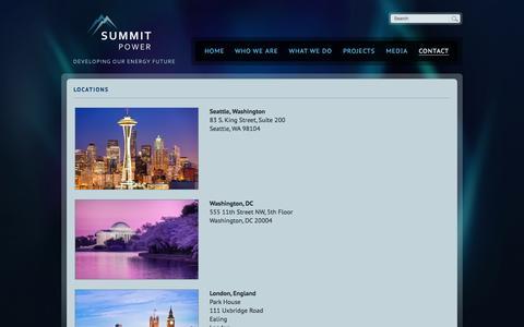 Screenshot of Locations Page summitpower.com - Locations | Summit Power - captured Oct. 7, 2014
