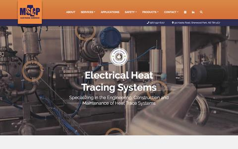 Screenshot of Home Page mscpltd.ca - Electrical Heat Trace Systems and Service | MSCP Electrical Services - captured Oct. 1, 2018