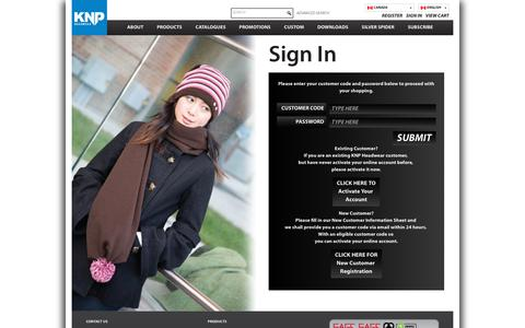 Screenshot of Login Page knpheadwear.com - Sign In | KNP Headwear - captured Oct. 22, 2018