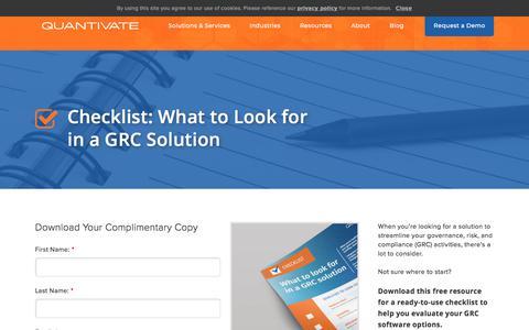 Screenshot of Case Studies Page quantivate.com - GRC Solution Checklist | Quantivate - captured Dec. 3, 2019