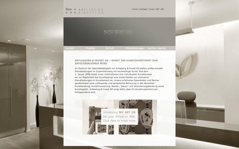 Screenshot of Home Page artleasing.ch - Home_de - captured Oct. 4, 2014