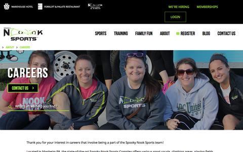 Screenshot of Jobs Page spookynooksports.com - Spooky Nook Sports | Careers & Job Opportunities - captured Sept. 21, 2018
