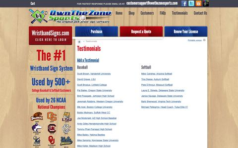 Screenshot of Testimonials Page ownthezonesports.com - Wristband Sign System - Pick-proof baseball and softball sign system and software.  Customer Testimonials. - captured Oct. 19, 2018