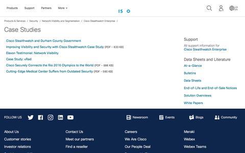 Screenshot of Case Studies Page cisco.com - Cisco Stealthwatch Enterprise - Case Studies - Cisco - captured Nov. 6, 2019