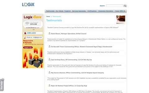 Screenshot of Testimonials Page logix.co.in - Logix Net Solution Business Network Nationwide Business Networking in India. - captured Oct. 3, 2014