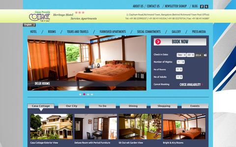 Screenshot of Home Page casacottage.com - 3 Star Heritage Hotel in Bangalore | Fully Furnished Service Apartments - casacottage.com - captured Sept. 19, 2014