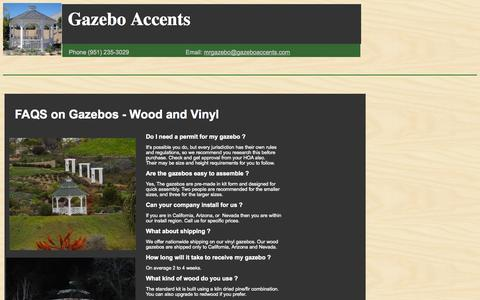 Screenshot of FAQ Page gazeboaccents.com - Gazebos | Wood | Vinyl - captured Sept. 29, 2014