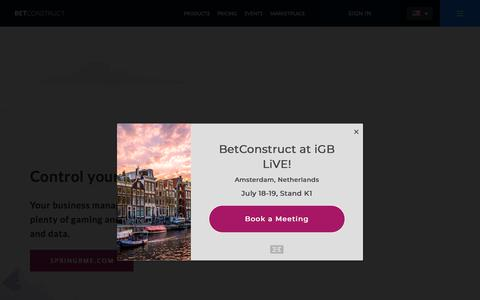 Screenshot of Home Page betconstruct.com - #1 Online Gaming and Sports Betting Software | BetConstruct - captured July 7, 2018