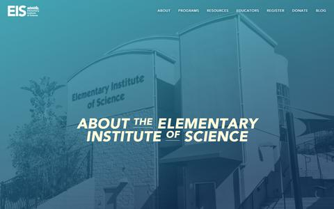 Screenshot of About Page eisca.org - About – Elementary Institute of Science - captured July 29, 2017