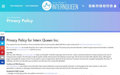 Screenshot of Privacy Page internqueen.com - Privacy Policy | Intern Queen Inc. - captured Nov. 26, 2016