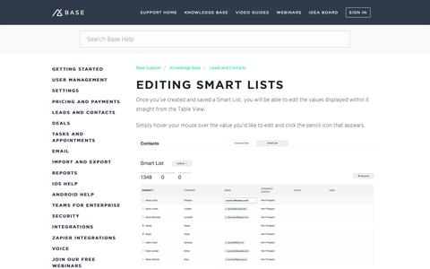 Screenshot of Support Page getbase.com - Editing Smart Lists – Base Support - captured Oct. 9, 2018