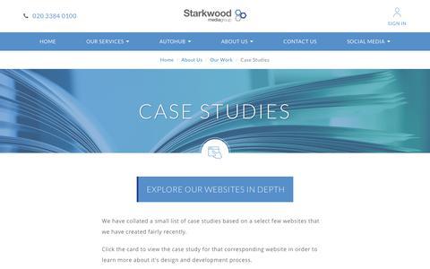 Screenshot of Case Studies Page starkwoodmediagroup.com - Case Studies | Starkwood Media Group Ltd - captured Nov. 22, 2017