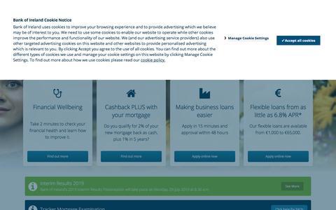 Screenshot of Home Page bankofireland.com - Bank of Ireland - Begin - captured July 22, 2019