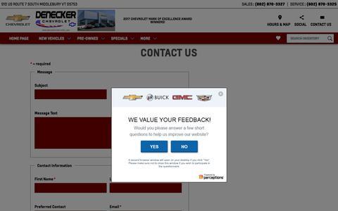 Screenshot of Contact Page deneckerchevrolet.com - Find Denecker Chevrolet's Contact Information - captured Sept. 20, 2018