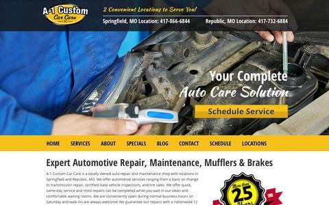 Screenshot of Home Page a-1customautorepair.com - Welcome To A-1 Custom Car Care - captured Feb. 3, 2016
