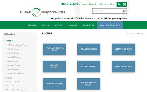 Screenshot of Products Page businesstelephone.com - Business Telephone Sales - Office Phones - 800-396-9699 - Business Telephone Sales - captured Sept. 22, 2018
