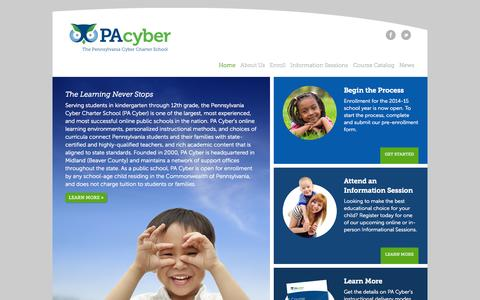 Screenshot of Contact Page pacyber.org - The Learning Never Stops | PA Cyber - captured Sept. 19, 2014