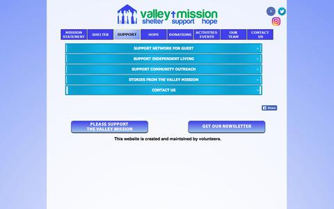 Screenshot of Support Page valleymission.net - SUPPORT - captured Nov. 11, 2017