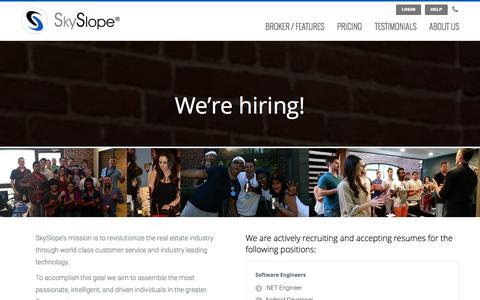 Screenshot of Jobs Page skyslope.com - Careers | SkySlope - captured Jan. 27, 2016