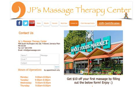 Screenshot of Contact Page jpsmassage.com - Contact Us | JP's Massage Therapy Center - captured Oct. 13, 2018