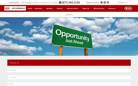 Screenshot of Jobs Page battlegroundkia.com - Automotive Jobs, Careers   Battleground Kia Greensboro, North Carolina - captured Dec. 30, 2015