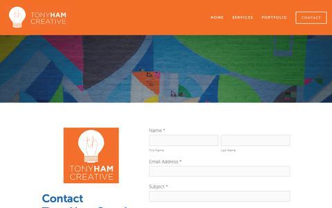 Screenshot of Contact Page tonyhamcreative.com - Contact — Tony Ham Creative - captured May 30, 2019